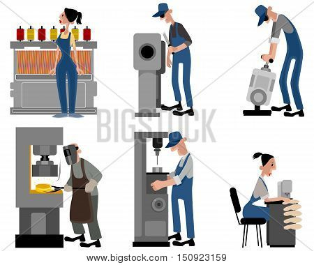 Vector illustration of a six workers with machines