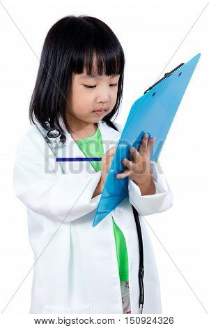 Asian Chinese Little Doctor Writting On Clip Board