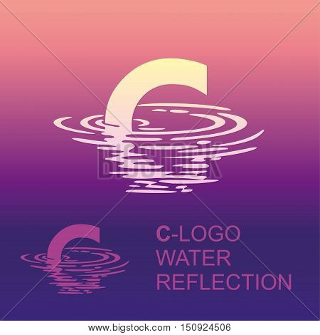 Template C brand name companies. Corporate style for the letter C: logo, background. Creative logo letter in the reflection in the water