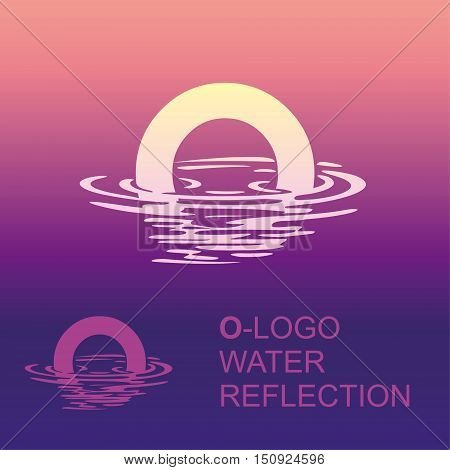 Template O brand name companies. Corporate style for the letter O: logo, background. Creative logo letter in the reflection in the water