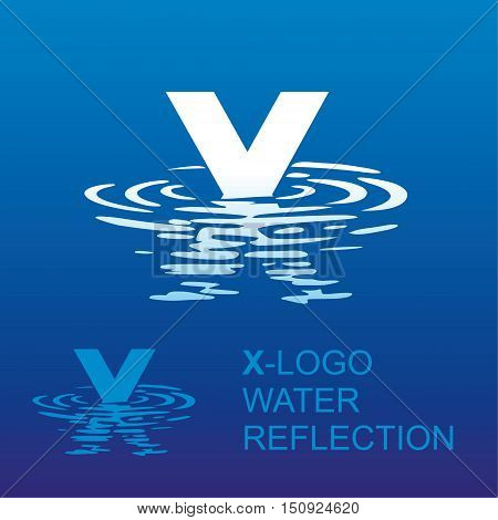 Template X brand name companies. Corporate style for the letter X: logo, background. Creative logo letter in the reflection in the water