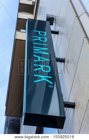 The Hague the Netherlands - October 08 2016: Primark sign board outside the department store