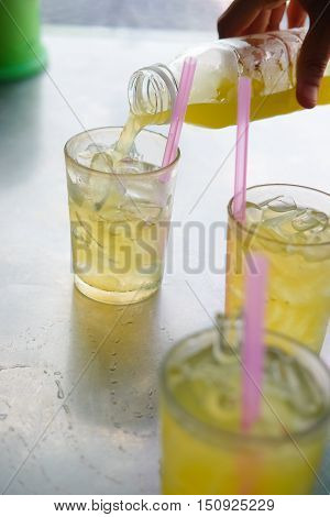 Drinks from sugar cane with ice, ready to drink