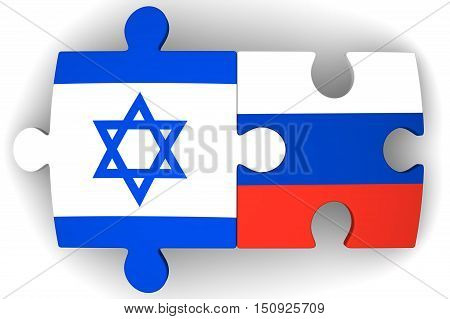 Cooperation between the Russian Federation and Israel. Puzzles with flags of the Russian Federation and Israel on a white surface. The concept of coincidence of interests in geopolitics. Isolated. 3D Illustration