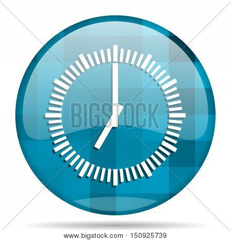 time blue round modern design internet icon on white background