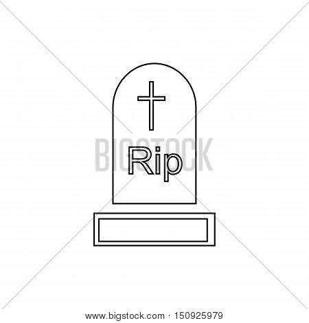 Gravestone icon. Outline illustration of gravestone vector icon for web design
