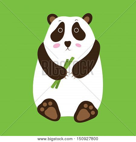 Panda on a white background. Panda with a cane. Panda logo. Panda icon. Panda art. Panda poster. Panda object. Panda animal. Panda cartoon. Panda vector illustration.