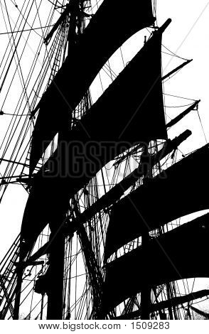 Black & White Silhouette Tall Ship Mast & Sails