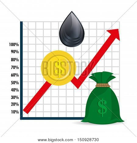 financial graphic chart with arrow red up and money items with oil drop. petroleum price theme. vector illustration