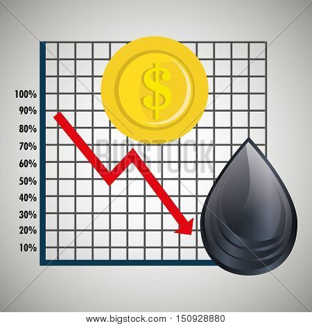 financial graphic chart with arrow red down and money coin with oil drop. petroleum price theme. vector illustration