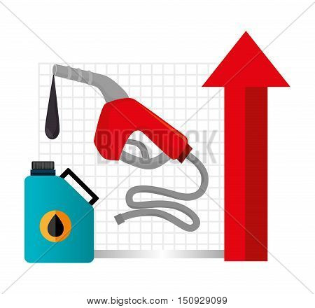 oil galloon and gas station pump and red arrow up. petroleum price design. vector illustration