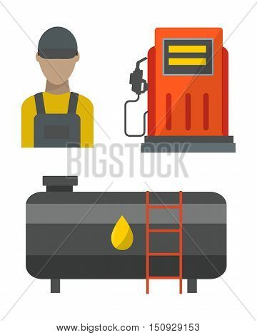Oil tank in cargo service terminal. Piping factory power system fuel storage gas oil station steel chemical pump sign. Petroleum technology refinery factory gas oil station business transportation.