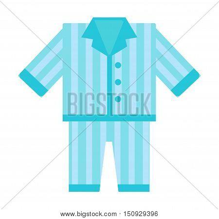 Fashion kid art comfort blue pajamas doodle vector. Sleep morning pajamas clothes cute bed female lifestyle illustration. Casual nightwear teenage pajamas cartoon clothing design. poster
