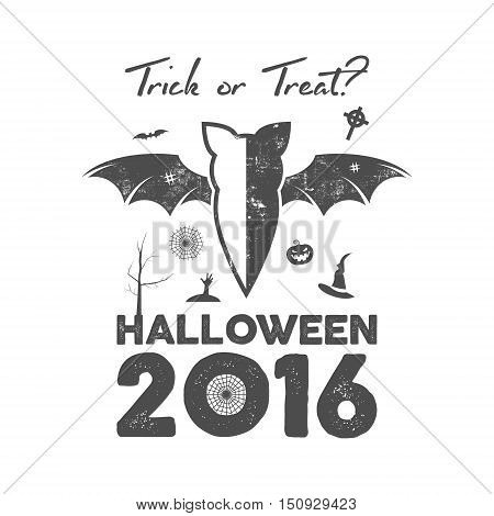 Happy Halloween 2016 Poster or poster. Trick ot treat lettering and halloween holiday symbols - bat, pumpkin, hand, witch hat, spider web and other. Old banner, party flyer design. Vector monochrome