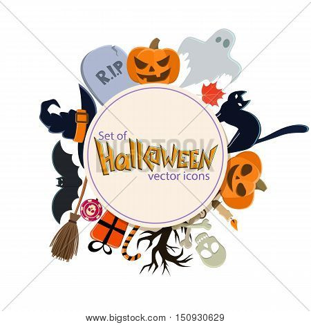 Circle shape template with Halloween icons for packaging cards posters menu. Vector stock illustration.