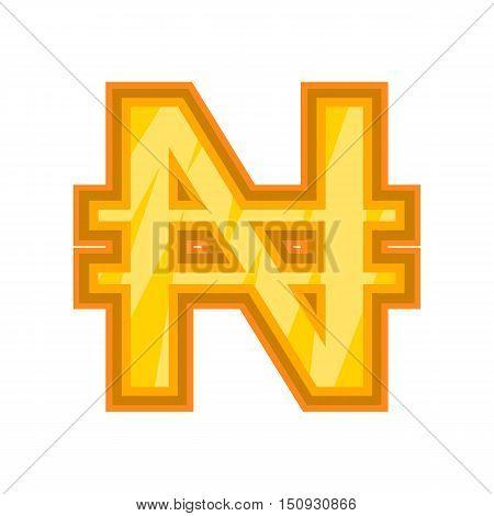Nigerian naira icon. Cartoon illustration of naira vector icon for web design