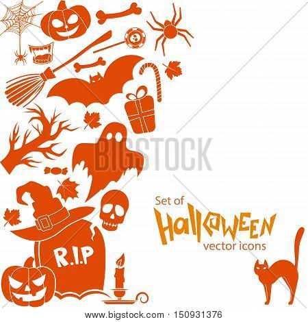 Side vertical border with Halloween icons. Template for packaging cards posters menu. Vector stock illustration.