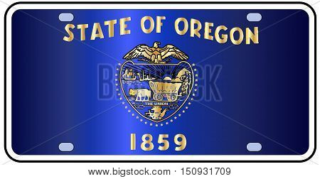 Oregon state license plate in the colors of the state flag with the flag icons over a white background