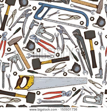Seamless pattern of repair tools icons on a white background. Vector stock illustration.