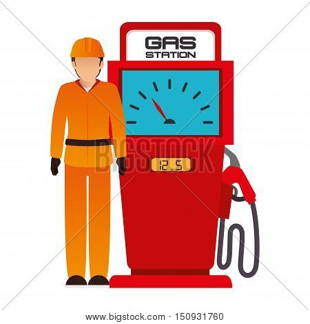avatar industrial worker with safety equipment and gas station pump icon. vector illustration