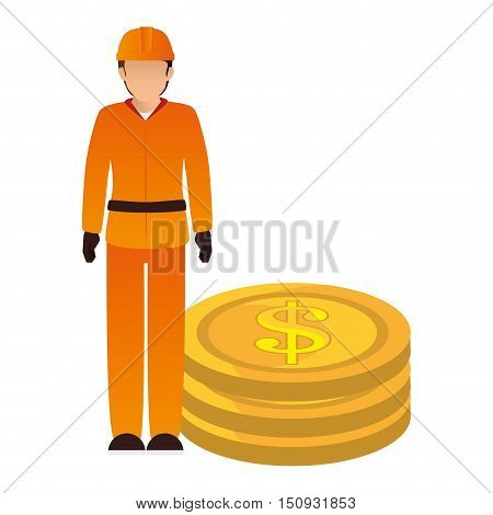 avatar industrial worker with safety equipment and money coins icon. vector illustration