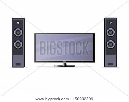 The TV screen with loudspeakers in flat