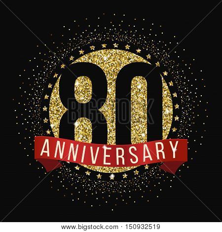 Eighty years anniversary celebration logotype. 80th anniversary logo.