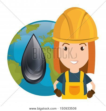 avatar woman smiling industrial worker wearing safety clothes and equipment with earth planet globe and oil drop icon. vector illustration