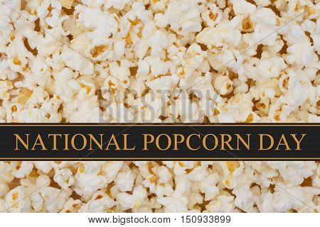 National Popcorn Day message Popcorn background and text National Popcorn Day