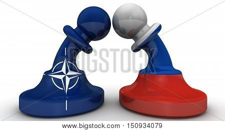 The confrontation between the Russian Federation and NATO. Chess pieces - pawns in the colors of flags of Russia and North Atlantic Treaty Organization (NATO) bent to each other. The concept of confrontation (or combating enmity) the warring parties. Isol