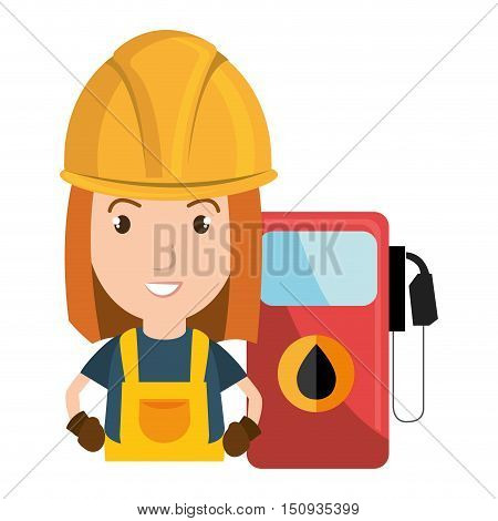avatar women industrial worker with safety equipment and gas station pump icon. vector illustration