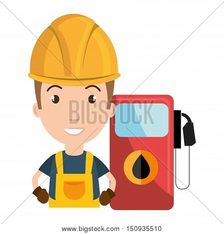 avatar man industrial worker smiling with safety equipment and gas station pump icon. vector illustration
