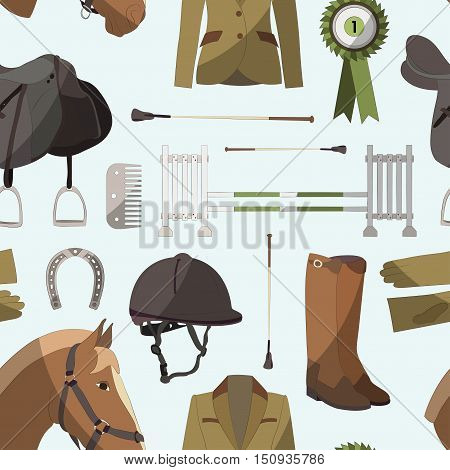 Pattern of different quipment for horses. Equestrian objects. Isolated elements. Cute brown horse.