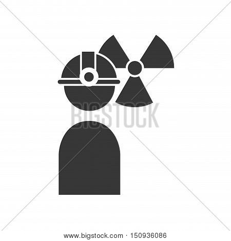 avatar industrial worker user with helmet and nuclear icon. silhouette vector illustration