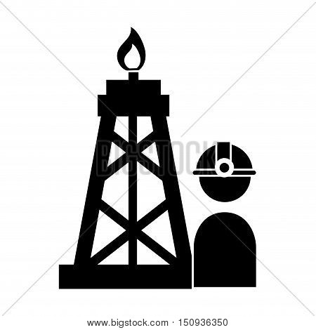 avatar industrial worker user with helmet and oil rif tower. silhouette vector illustration