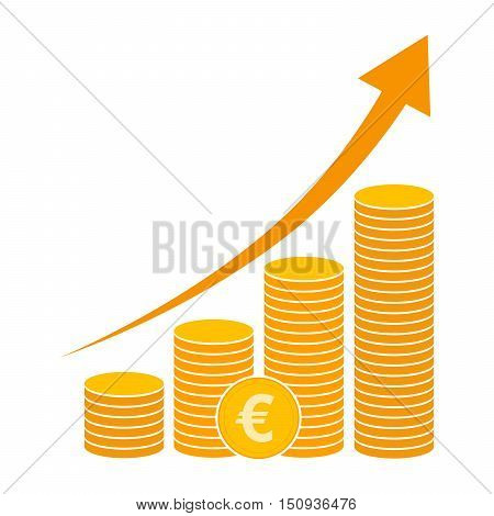 Coin icon in flat design. Gold euro symbol. Income concept. Heap of Cash euro coin - vector illustration.