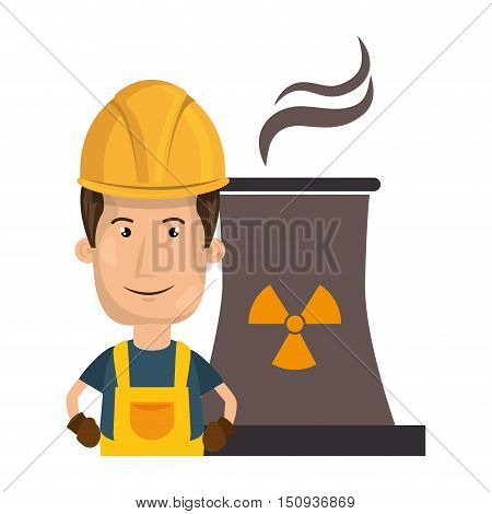 avatar man smiling industrial worker with safety equipment and  nuclear plant icon. vector illustration