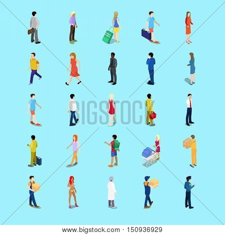 Isometric People Collection. Businessman, Tourist, Mother with Baby Carriage, Walking People. Vector 3d flat illustration