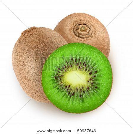 Isolated Cut Kiwi Fruits