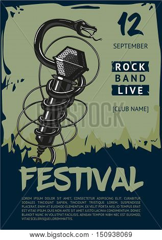 Rock music poster with microphone and snake. Tattoo style illustartion