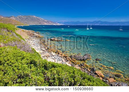 Stunning Corsica Coastline With Rocky Beach And Tourquise Clear Water, Corsica, France, Europe.