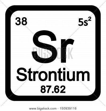 Periodic table element strontium icon on white background. Vector illustration.