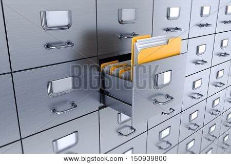 Filing cabinet 3D isolated on white background