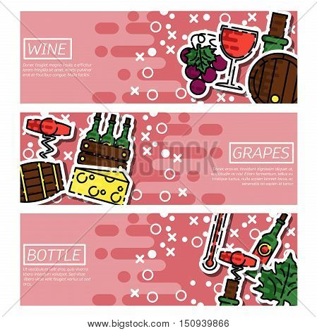 Set of Horizontal Banners about wine isolated vector illustration