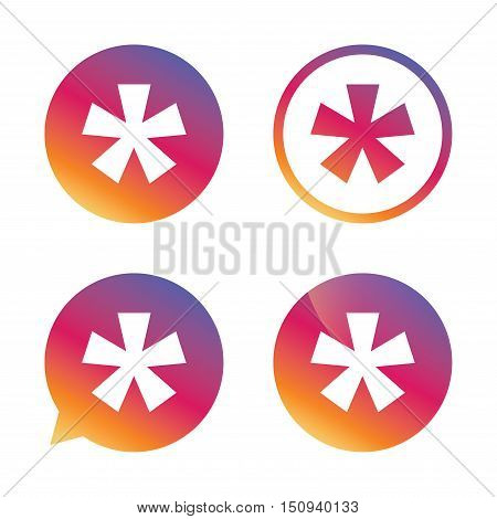Asterisk footnote sign icon. Star note symbol for more information. Gradient buttons with flat icon. Speech bubble sign. Vector