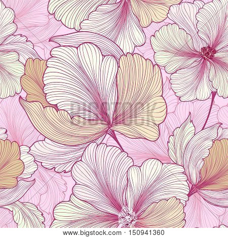 Floral seamless pattern. Flower etching background. Flourish sketch texture with flowers daisy.