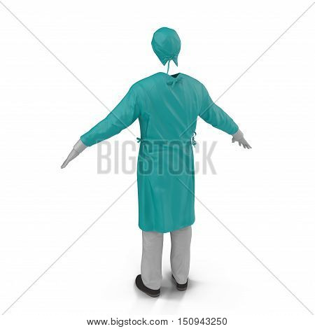 Surgical clothes for man on white background. 3D illustration