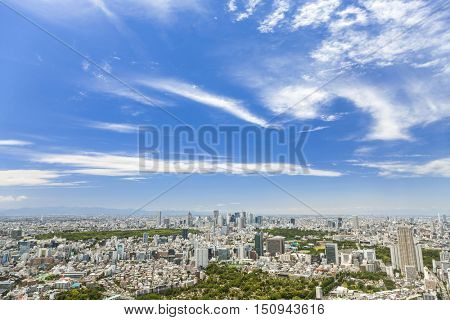 Aerial view of houses, parks, skyscrapers and office buildings in Tokyo City, Japan, Asia