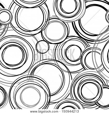 Abstract geometric doodl seamless pattern. Grange bubble ornamental background. Circles. Abstract seamless background wth sribble rings