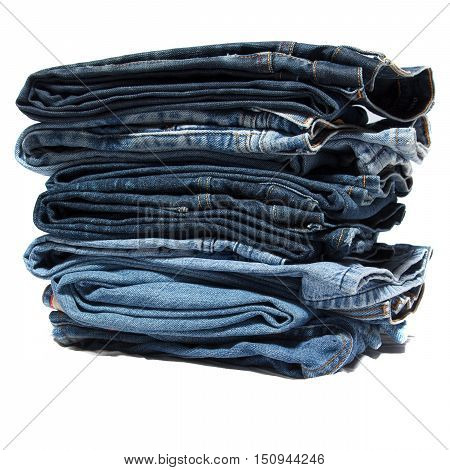 A pack of folded blue jean clothes